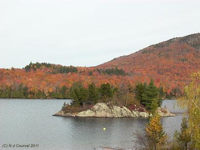 Fall leaves surrounding Lake Stukely, Orford, Quebec