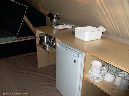 Huttopia kitchen area, Orford, Quebec